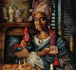 Jedno z mnoha moderních vyobrazení Marie Laveau. Je zde vše, co je pro neworleánské vúdú charakteristické: figurky svatých na krbové římse kontrastující s africkou soškou v pravém dolním rohu, kohout společně s albínským hadem a Marie Laveau s vysokým tignonem na hlavě a váčkem gris-gris v ruce.